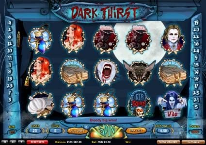 Play slots at HippoZino: HippoZino featuring the Video Slots Dark Thirst with a maximum payout of ?22,500