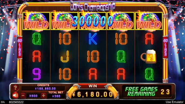 Play slots at Cyber Spins: Cyber Spins featuring the Video Slots Darts Championship with a maximum payout of $180,000