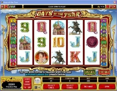 Play slots at 21 Jackpots: 21 Jackpots featuring the Video Slots Days of the Tsar with a maximum payout of $25,000