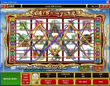 Lucky 247 featuring the Video Slots Days of the Tsar with a maximum payout of $25,000