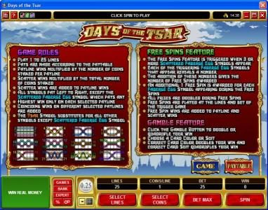 Colosseum featuring the Video Slots Days of the Tsar with a maximum payout of $25,000