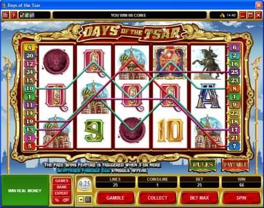 Lucky Emperor featuring the Video Slots Days of the Tsar with a maximum payout of $25,000