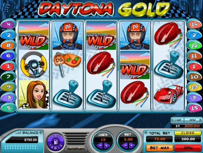 Vive Mon Casino featuring the Video Slots Daytona Gold with a maximum payout of $60,000
