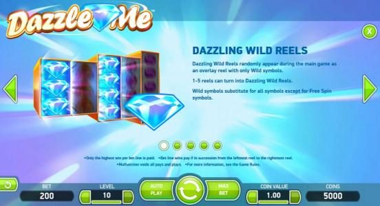 ReelTastic featuring the Video Slots Dazzle Me with a maximum payout of $152,000
