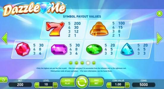 Diamond 7 featuring the Video Slots Dazzle Me with a maximum payout of $152,000