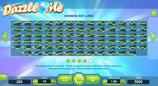 Wixstars featuring the Video Slots Dazzle Me with a maximum payout of $152,000