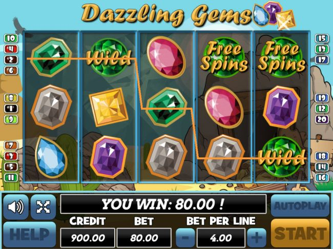 Venetian featuring the Video Slots Dazzling Gems with a maximum payout of $24,000