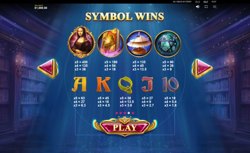 Da Vinci's Mystery Super Lines :: Paytable