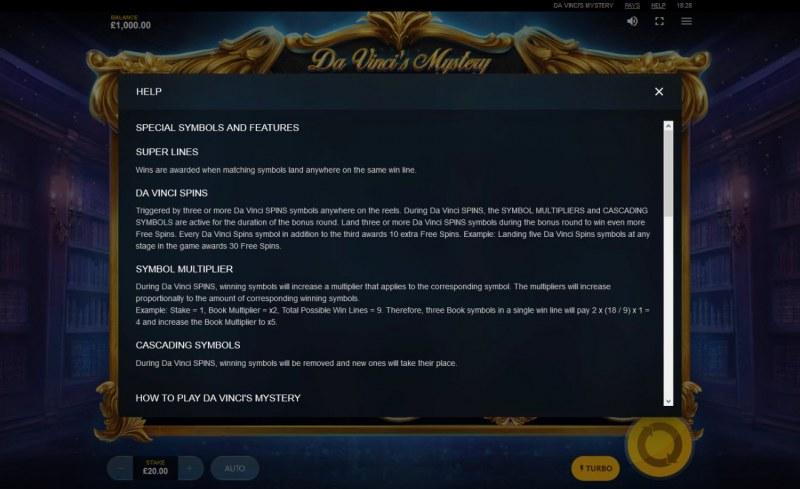 Da Vinci's Mystery Super Lines :: General Game Rules