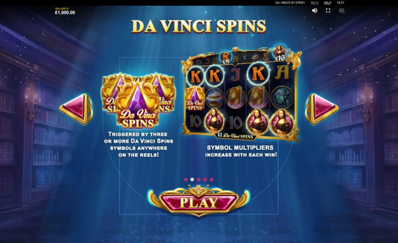 Da Vinci's Mystery Super Lines :: Free Spins Rules