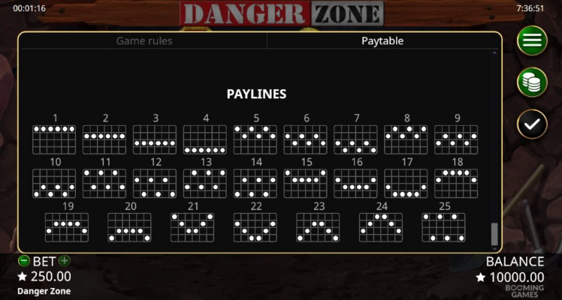 Danger Zone :: Paylines 1-25