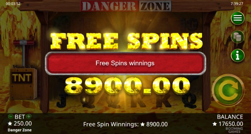 Danger Zone :: Total free spins payout