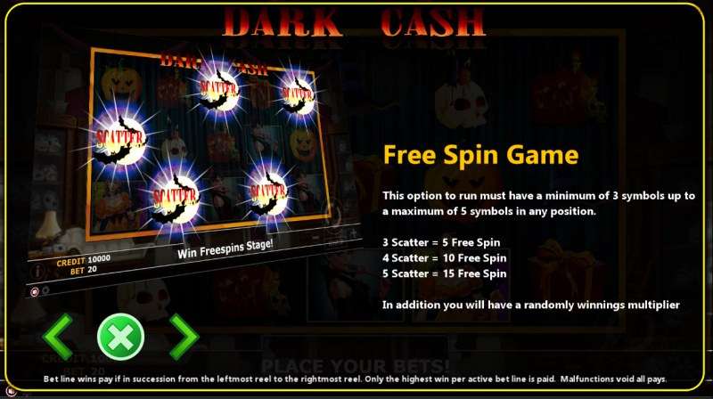 Dark Cash :: Free Spins Rules