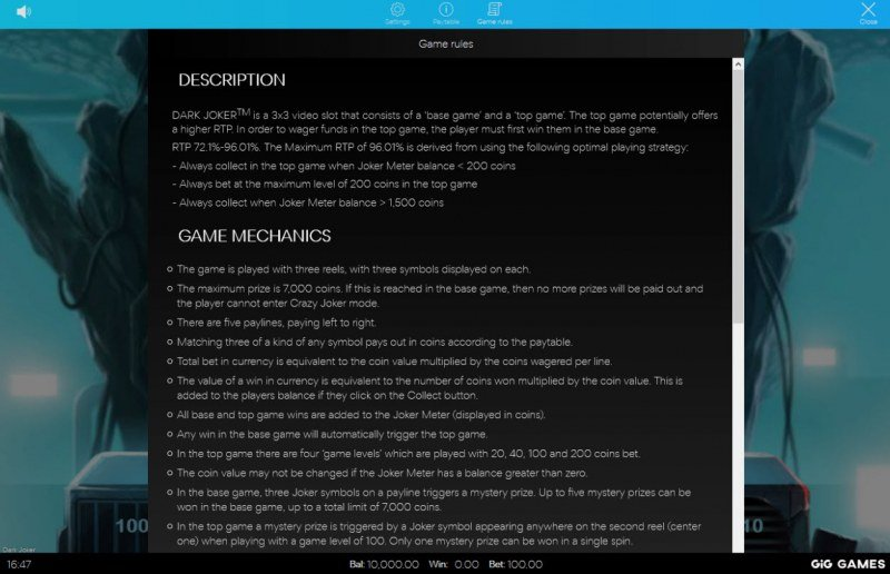 Dark Joker :: General Game Rules