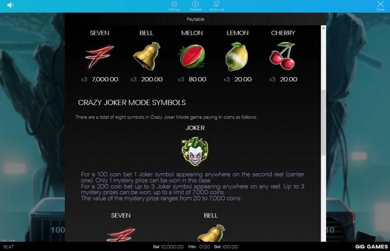Dark Joker :: Paytable