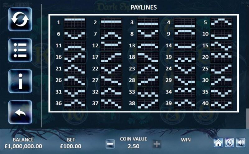 Dark Spells :: Paylines 1-40