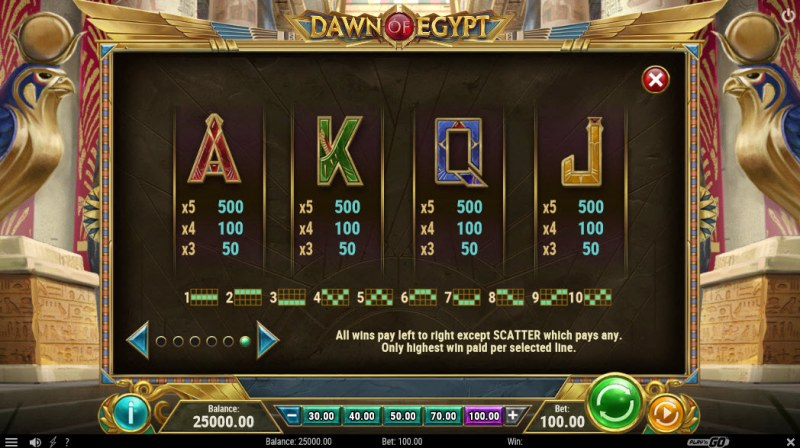 Dawn of Egypt :: Paytable - Low Value Symbols
