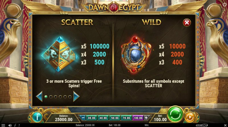 Dawn of Egypt :: Wild and Scatter Rules