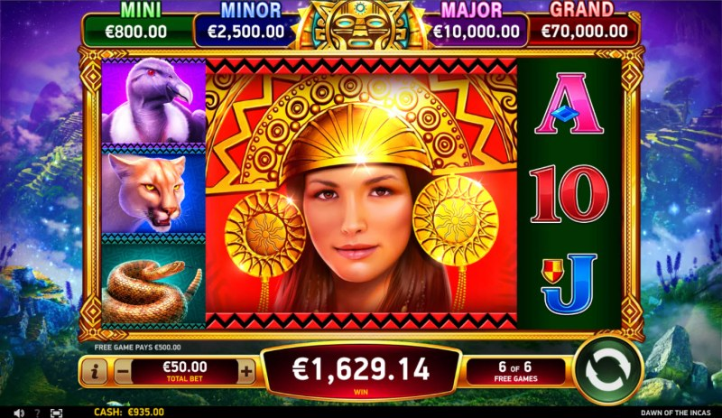 Dawn of the Incas :: Multiple winning paylines