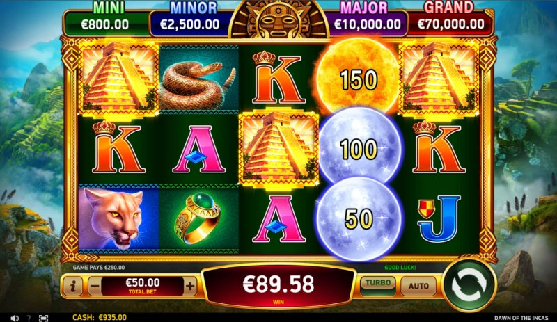 Dawn of the Incas :: Scatter symbols triggers the free spins bonus feature