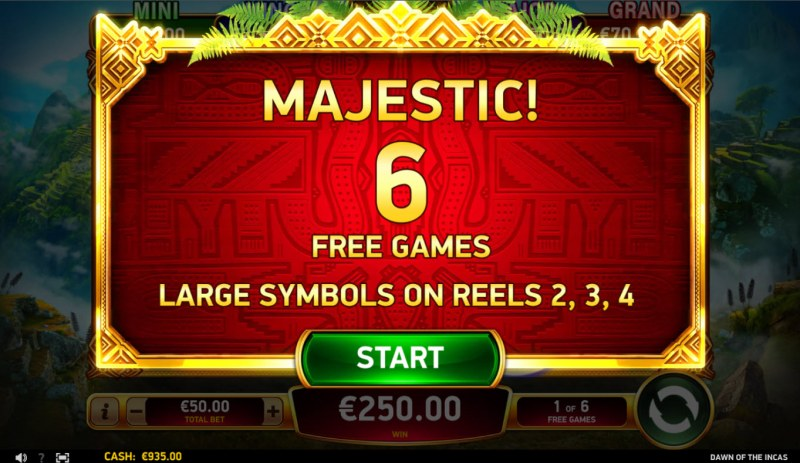 Dawn of the Incas :: 6 free spins awarded