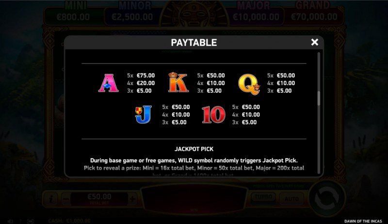 Dawn of the Incas :: Paytable - Low Value Symbols
