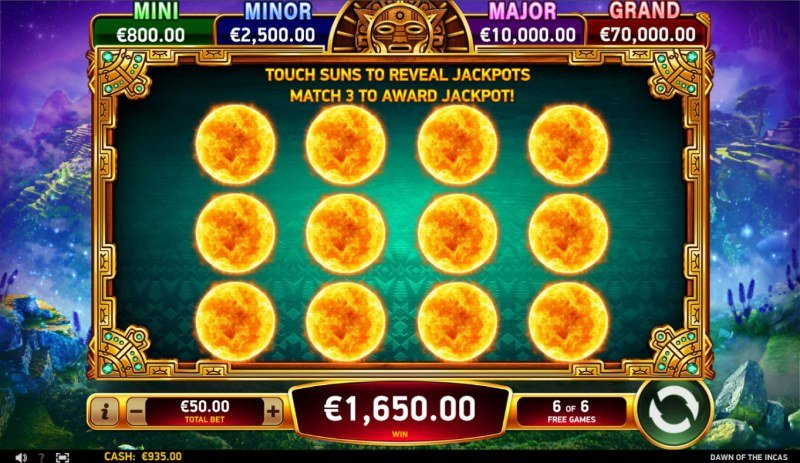 Dawn of the Incas :: Jackpot Pick Feature