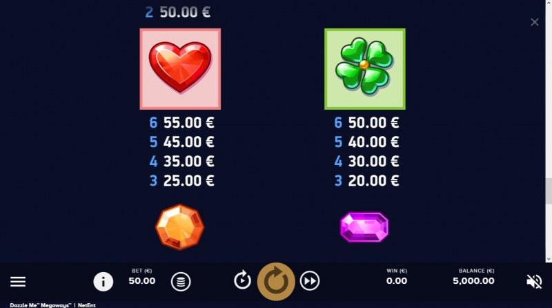 Dazzle Me Megaways :: Paytable - High Value Symbols