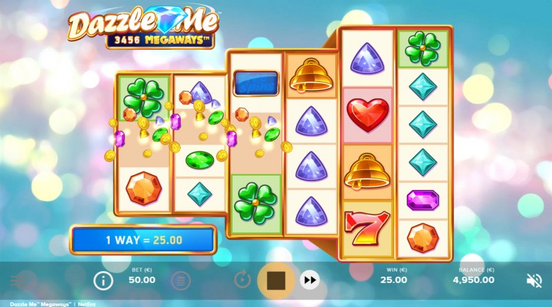 Dazzle Me Megaways :: Winning symbols are removed from the reels and new symbols drop in place
