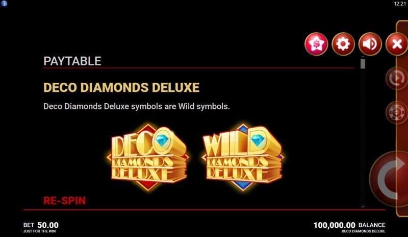 Deco Diamonds Deluxe :: Wild Symbols Rules