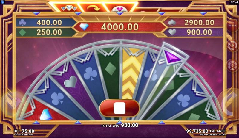 Deco Diamonds Deluxe :: Spin the Bonus Wheel to win a bonus prize