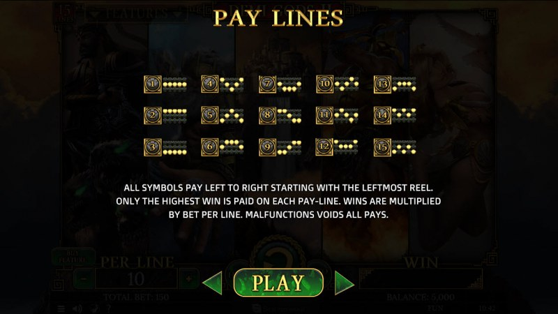 Demi Gods II 15 Lines :: Paylines 1-15