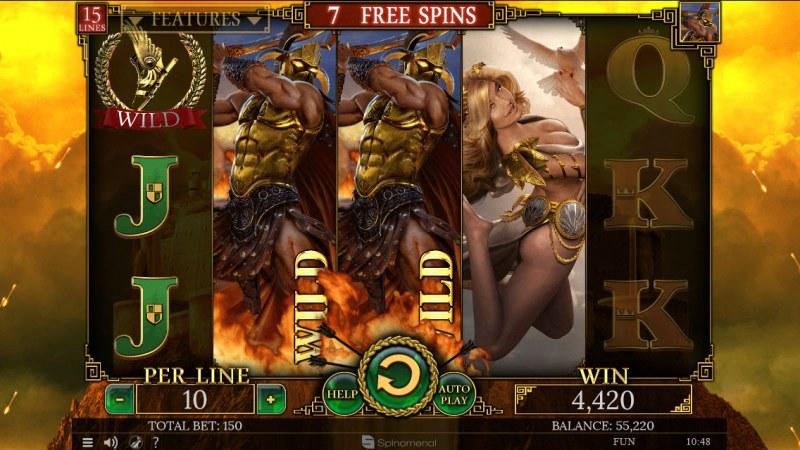 Demi Gods II 15 Lines :: Stacked wild symbols triggers multiple winning paylines