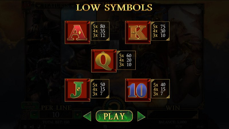 Demi Gods II 15 Lines :: Paytable - Low Value Symbols