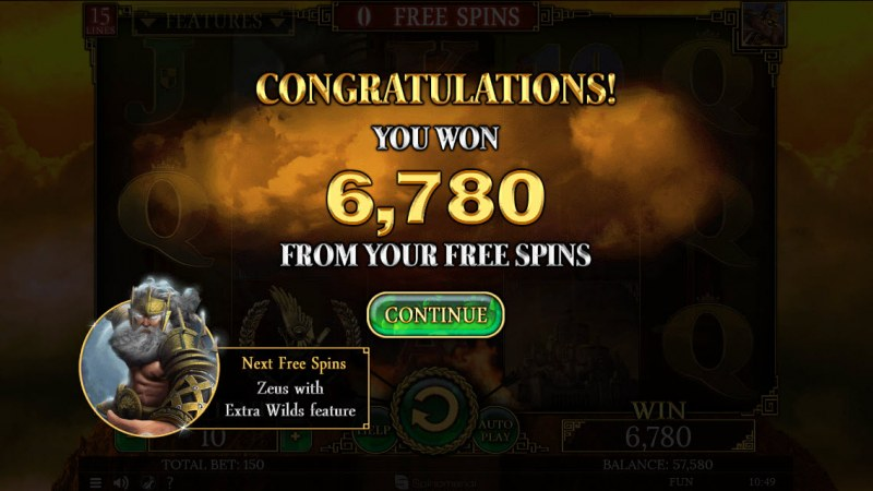 Demi Gods II 15 Lines :: Total free spins payout