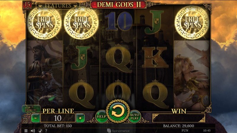 Demi Gods II 15 Lines :: Scatter symbols triggers the free spins feature