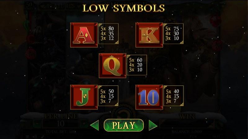 Demi Gods II Christmas Edition :: Paytable - Low Value Symbols