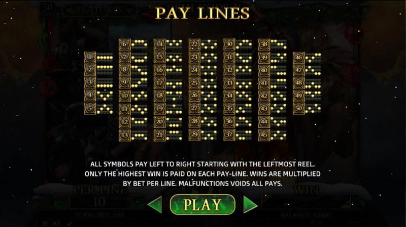 Demi Gods II Christmas Edition :: Paylines 1-50