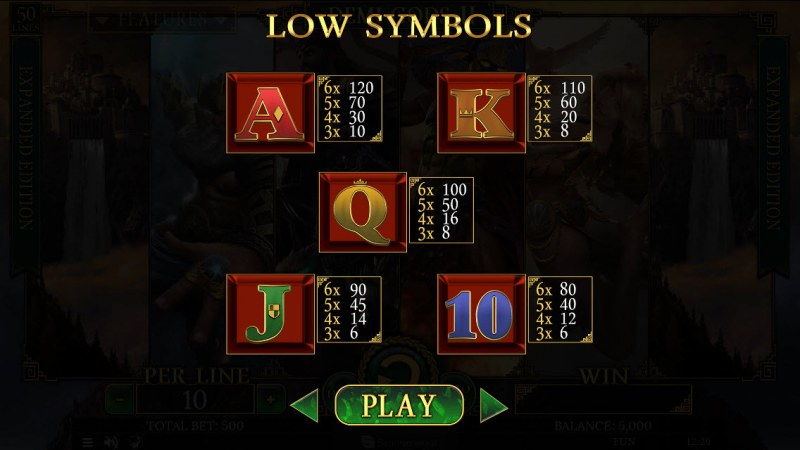 Demi Gods II Expanded Edition :: Paytable - Low Value Symbols