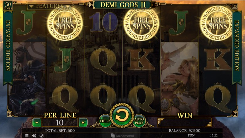 Demi Gods II Expanded Edition :: Scatter symbols triggers the free spins feature