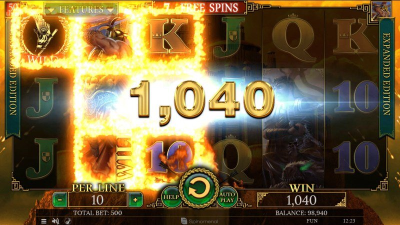 Play slots at Sports and Casino: Sports and Casino featuring the Video Slots Demi Gods II Expanded Edition with a maximum payout of $100,000