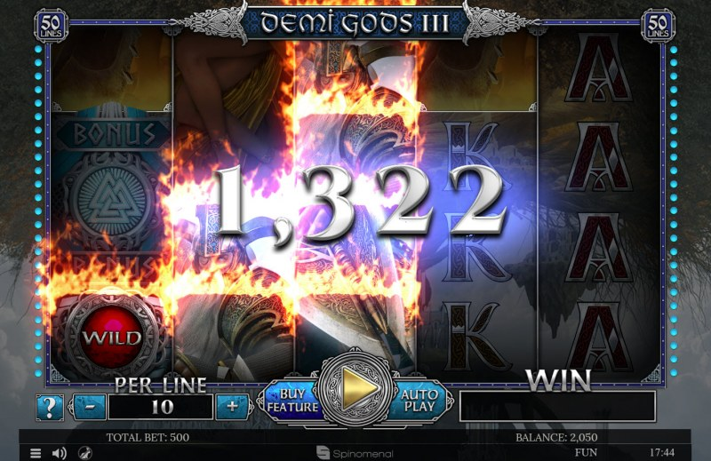 Demi Gods III :: Multiple winning paylines