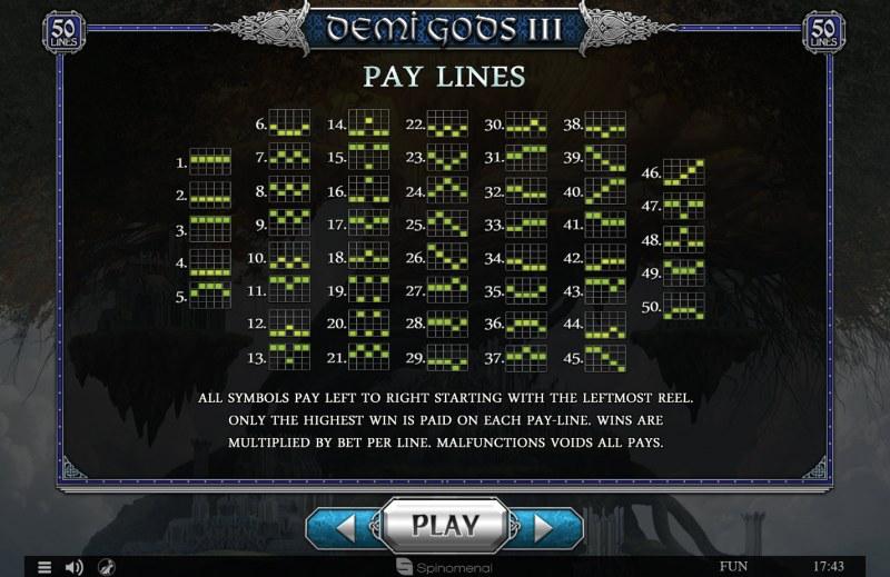 Demi Gods III :: Paylines 1-50