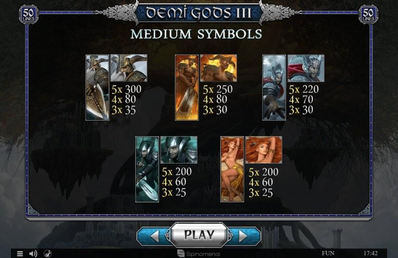 Demi Gods III :: Paytable - Medium Value Symbols