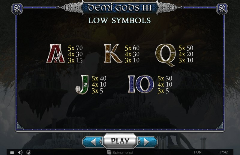 Demi Gods III :: Paytable - Low Value Symbols