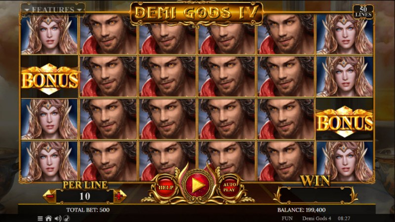 Demi Gods IV :: Scatter symbols triggers the free spins feature