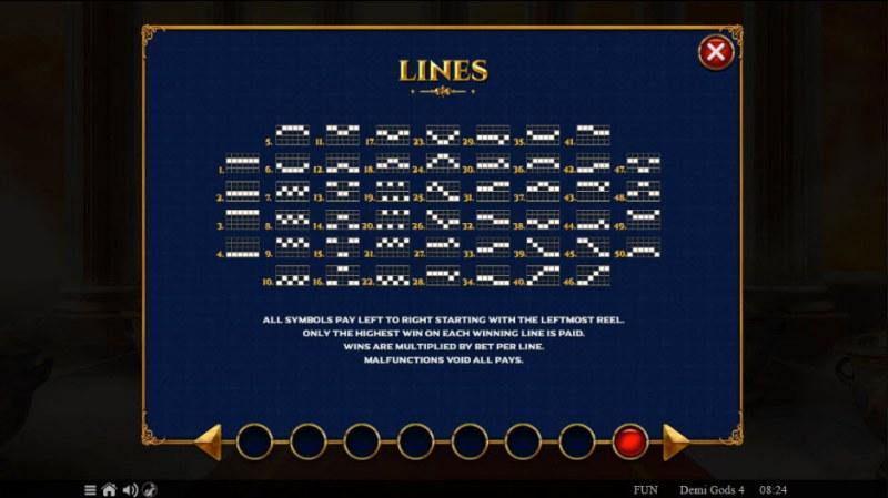 Demi Gods IV :: Paylines 1-50