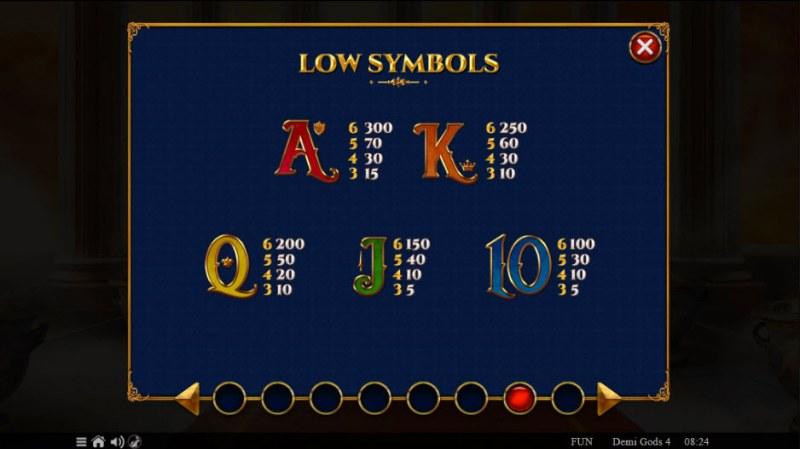 Demi Gods IV :: Paytable - Low Value Symbols