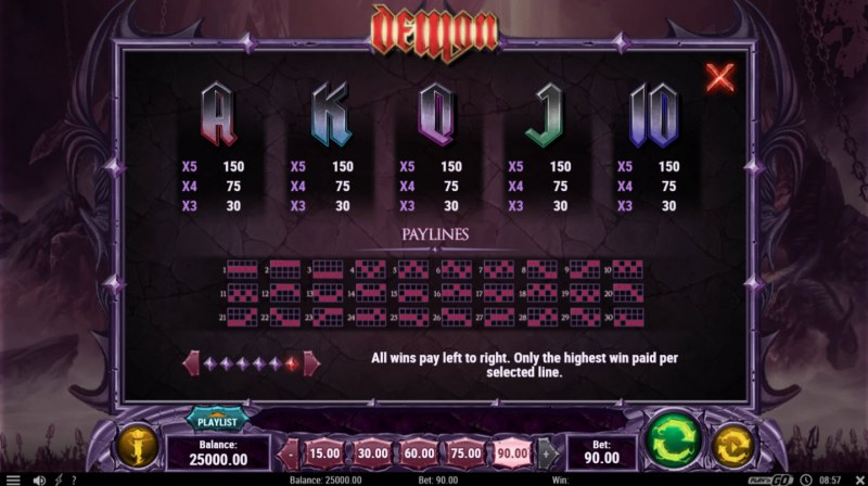 Play slots at Crazy vegas: Crazy vegas featuring the Video Slots Demon with a maximum payout of $450,000