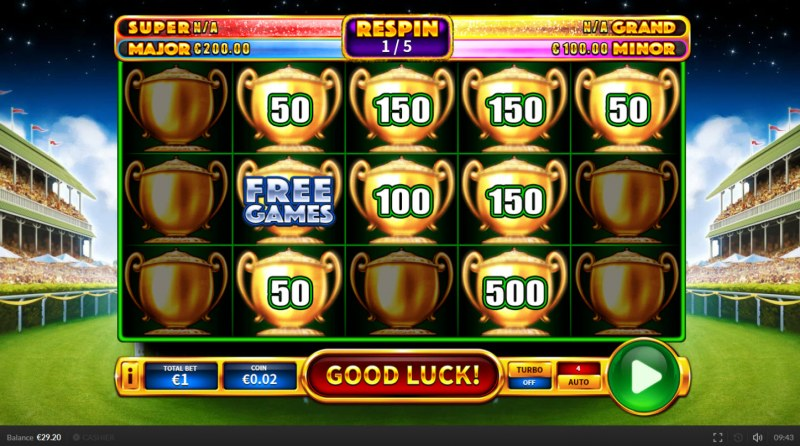 Derby Shot :: Spin the reels and land additonal bonus symbols and win more